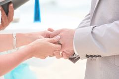 Mains de Holding de jeunes mariés et anneaux d'échange Photos stock