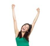 Mains de jeune femme vers le haut augmentées Photo stock