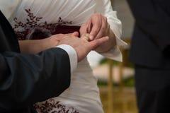 Mains de jeune mariée et de jeune marié Image libre de droits