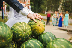 Mains de jeunes mariés avec se tenir d'anneaux de mariage Image libre de droits