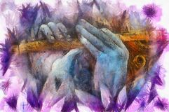 Mains de krishna de seigneur jouant la cannelure, détail avec le modèle de lotus Photos libres de droits