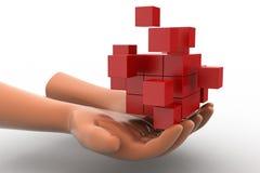 mains de l'homme 3d - développement durable avec le concept de cube Images libres de droits