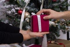 Mains de l'homme donnant le cadeau rouge de Noël Photos libres de droits