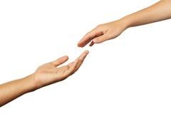 Mains de l'homme et de femme sur le fond blanc Image stock