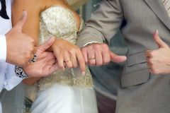 Mains de la mariée Image libre de droits