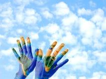 Mains de la terre Photos libres de droits