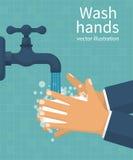 Mains de lavage Homme tenant le savon illustration de vecteur