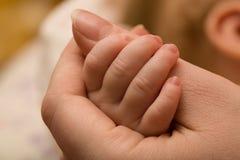 Mains de mère et de chéri Photo stock