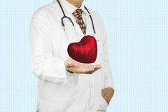 Mains de médecin avec le coeur Photos libres de droits