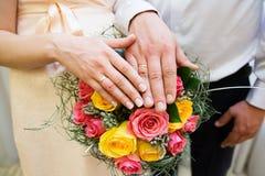 Mains de mariée et de marié avec des boucles de mariage Photographie stock libre de droits
