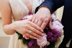 Mains de mariée et de marié avec des boucles de mariage Photographie stock