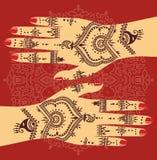 Mains de mudra de yoga d'élément avec des modèles de mehendi Dirigez l'illustration pour un studio de yoga, tatouage, stations th Illustration Libre de Droits