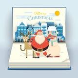 Mains de ondulation de sourire heureuses de bande dessinée Santa, de cerfs communs et de bonhomme de neige en Cu illustration libre de droits