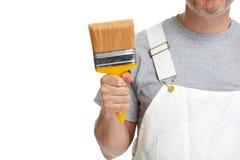Mains de peintre avec le rouleau de peinture photos libres de droits