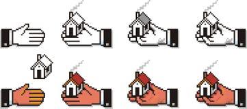 Mains de Pixelated avec des Chambres et des clés Images libres de droits