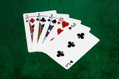 Mains de poker - trois d'une sorte - cric, dix, trois Photographie stock libre de droits