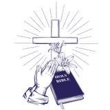 Mains de prière, bible, évangile, couronne des épines, croix en bois Pâques symbole de vecteur tiré par la main de christianisme illustration libre de droits