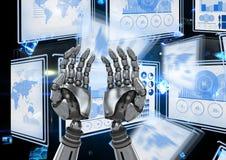Mains de robot agissant l'un sur l'autre avec des panneaux d'interface de technologie illustration libre de droits