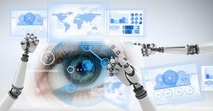 Mains de robot agissant l'un sur l'autre avec des panneaux d'interface de technologie images stock