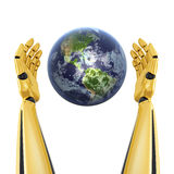 Mains de robot autour de la terre de planète Photographie stock