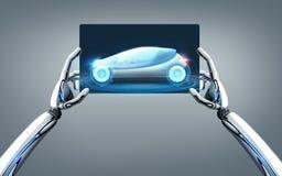 Mains de robot avec la voiture de concept sur l'écran de PC de comprimé Image stock
