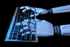 Mains de robot dactylographiant sur le clavier numérique à l'arrière-plan foncé Cyborg robotique de bras ? l'aide de l'ordinateur illustration de vecteur