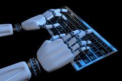 Mains de robot dactylographiant sur le clavier, clavier num?rique Cyborg robotique de main ? l'aide de l'ordinateur 3D rendent l' illustration libre de droits