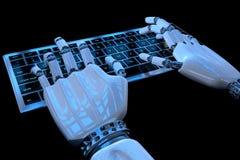 Mains de robot dactylographiant sur le clavier, clavier num?rique Cyborg robotique de main ? l'aide de l'ordinateur 3D rendent l' illustration de vecteur