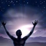 Mains de silhouette d'homme étirées  Image libre de droits