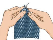 Mains de tricotage Photographie stock