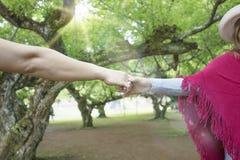 Mains des amants, des hommes et des femmes dans l'espace vert Photographie stock