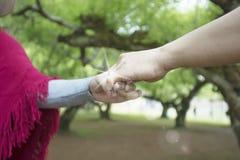 Mains des amants, des hommes et des femmes dans l'espace vert Image libre de droits
