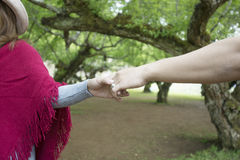 Mains des amants, des hommes et des femmes dans l'espace vert Photo stock
