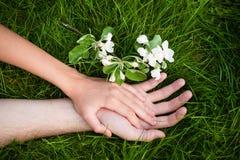 Mains des amoureux sur l'herbe Image stock