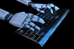 mains du robot 3d dactylographiant sur le clavier, clavier num Cyborg robotique de main ? l'aide de l'ordinateur 3D rendent l'ill illustration de vecteur