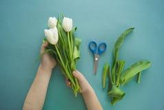 Mains du ` s d'enfants avec un bouquet de vue supérieure de tulipes Fond pour une carte d'invitation ou une félicitation La fille Image libre de droits