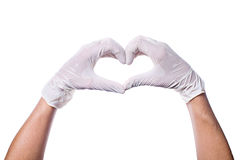Mains du ` s de docteur faisant la forme de coeur Photos libres de droits
