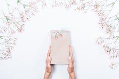 Mains du ` s de femme tenant le sac de papier de cadeau avec l'arc argenté photos libres de droits