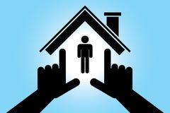 Mains effectuant la forme de maison Images libres de droits