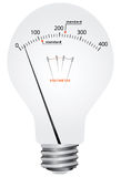 Mains electricity. Creative filament lamp voltmeter with scale and the difference in the standards of the supply voltage. Vector illustration Royalty Free Stock Photography