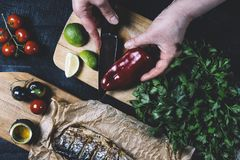 Mains en cours de faire cuire des poissons, poivre, persil, tomate, chaux sur une planche à découper sur un horiz en bois noir de photographie stock libre de droits