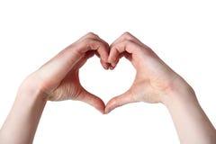 Mains en forme de coeur Images libres de droits