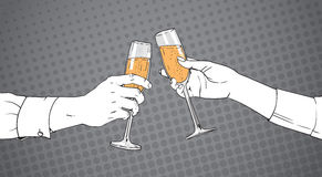 Mains esquissées de couples faisant tinter le verre de Champagne Wine Toasting Pop Art rétro Pin Up Background Images stock