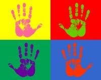 Mains estampées de couleur Image libre de droits