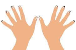 Mains et clous de femme Photographie stock libre de droits