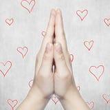 Mains et coeur Photos stock