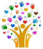 Mains et coeurs avec l'arbre généalogique d'étoile illustration libre de droits