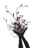 Mains et fleurs illustration de vecteur