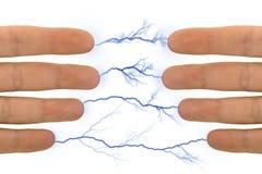 Mains et foudres Photo libre de droits