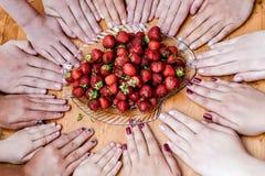 Mains et fraises photos libres de droits